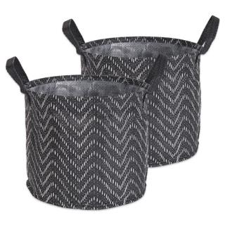 DII Round Coated Tribal Chevron Laundry Bins (Set of 2)