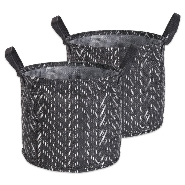 DII Round Coated Tribal Chevron Laundry Bins (Set of 2)