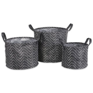 DII Assorted Round Coated Tribal Chevron Laundry Bins (Set of 3)
