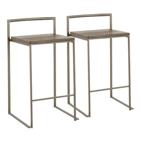 Carbon Loft Yadriel Industrial Stackable Counter Stool (Set of 2) - N/A