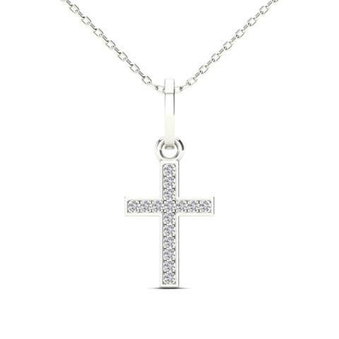 AALILLY 10k White Gold Diamond Accent Cross Pendant Necklace (H-I, I1-I2)
