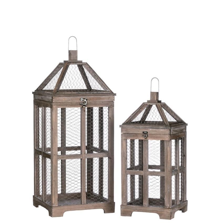 Wood Lanterns - Set of 2 (Brown)