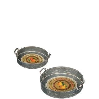 "Rustic Fruit Stand Pear & Orange  Round Trays - Set of 2 - 16.5""L x 15""W x 4""H, 13.5""L x 12""W x 3""H"