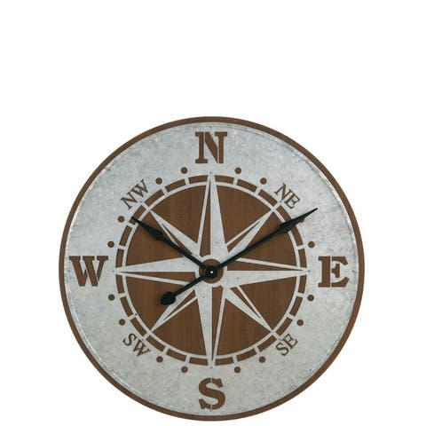 Galvanized Wall Compass Clock