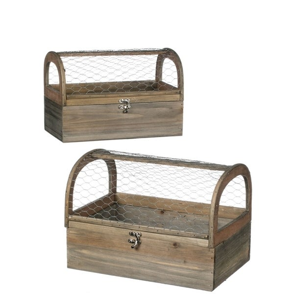 Rectangle Wood Terrariums - Set of 2