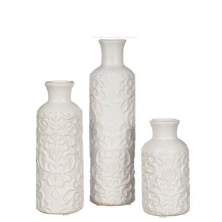 White Embossed Bud Vases - Set of 3
