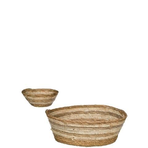 """White & Natural Woven Round Storage Baskets - Set of 2 - 15""""L x 15""""W x 5.5""""H, 8""""L x 8""""W x 3""""H"""