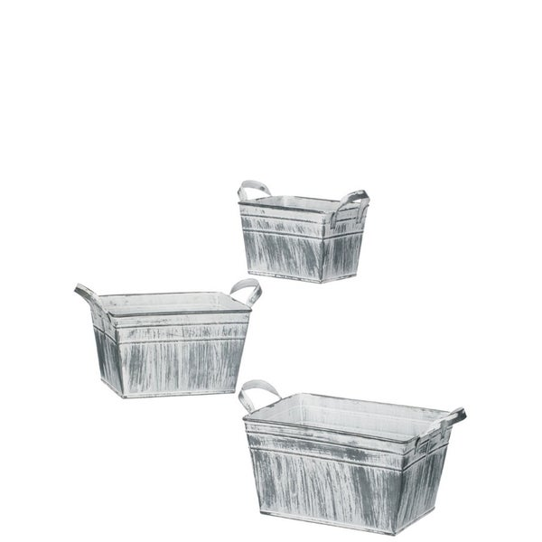 """White Washed Metal Containers with Handles - Set of 3 - 9.5, 8, 6.5""""Lx5, 4.5, 3.5, 5""""W,x4.5, 4""""H"""