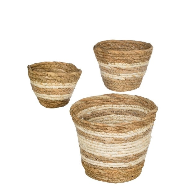 Natural Maize Storage Baskets - Set of 3