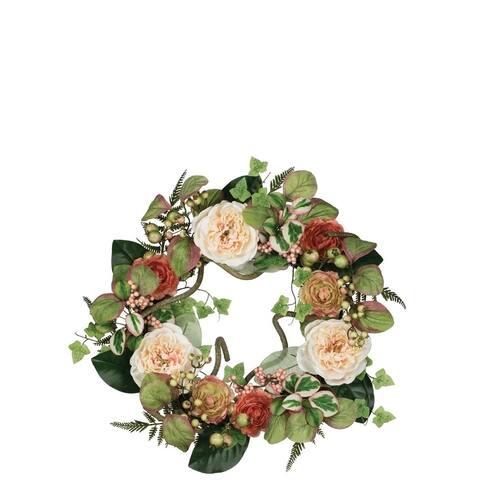 Sullivans Peony, Ranunculus, & Berry Wreath