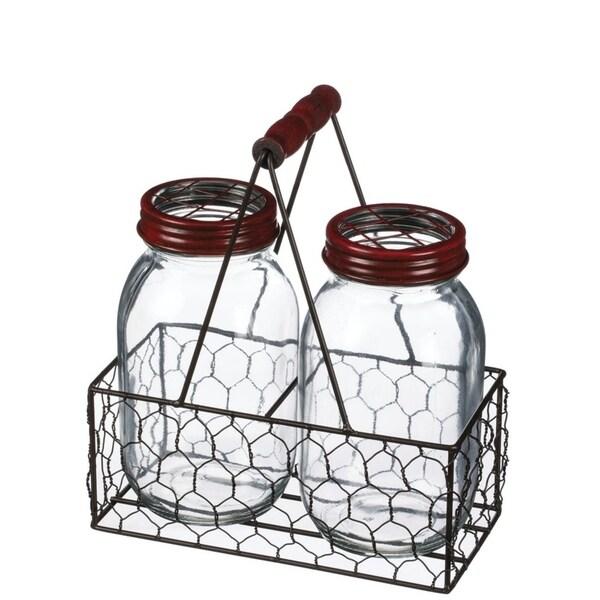 2 Glass Jars in Wire Basket
