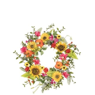 Sunflower, Primrose, & Daisy Wreath