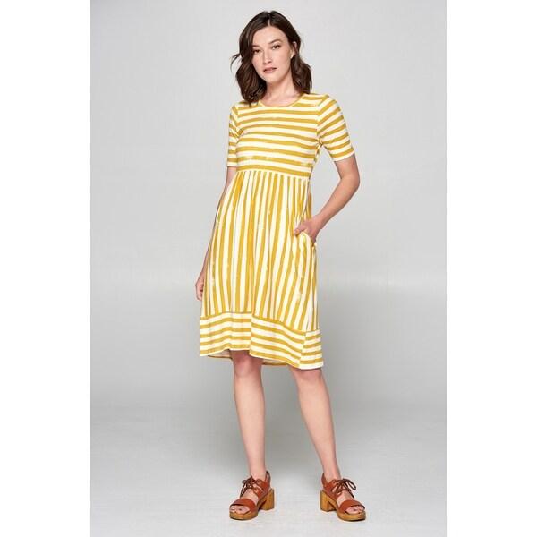 88762d264d344 Shop Spicy Mix Emmeline Mustard Half Sleeve Dress w/Pockets - Free ...