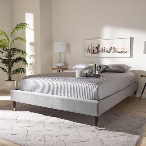 Baxton Studio Fabric Glam Platform Bed Frame with Goldtone Leg Tips