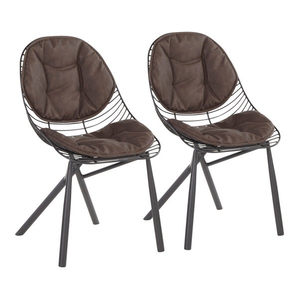 Copper Grove Beloslav Wired Chairs with Faux Leather Cushions (Set of 2). Opens flyout.