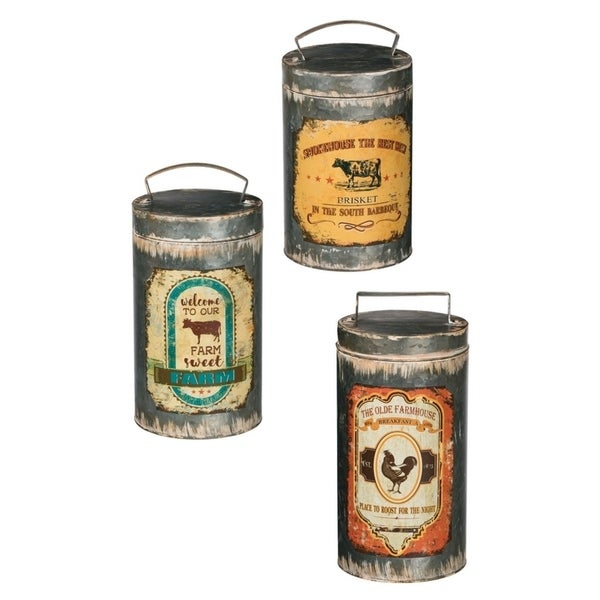 "Rustic Tall Farmhouse Canisters - Set of 3 - 6, 6, 6""L x 6, 6, 6""W x 13, 12, 11""H"
