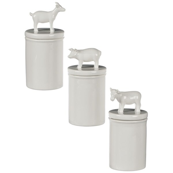 """Farmhouse Pig, Goat, & Cow Lidded Canisters - Set of 3 - 4, 4, 4""""L x 4, 4, 4""""W x 8.5, 8.5, 7.5""""H"""