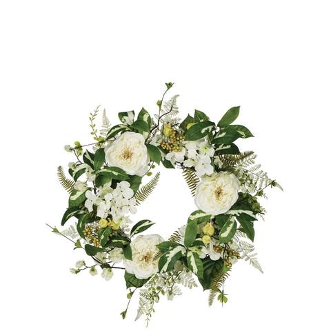 Peony, Hydrangea, & Sweet Pea Wreath