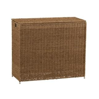 Household Essentials Seagrass 3 Bag Sorter Hamper, Natural  28.25H x 33W x 14D