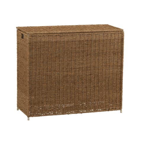 Household Essentials Seagrass 3 Bag Sorter Hamper, Natural 28.25H x 33W x 14D