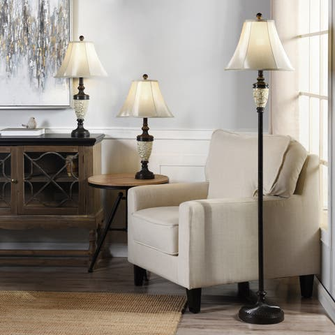 Collection of Urn Shaped Crackle Finish Floor and Table Lamps with Bell Shade and Coordinating Finials (Set of 3)