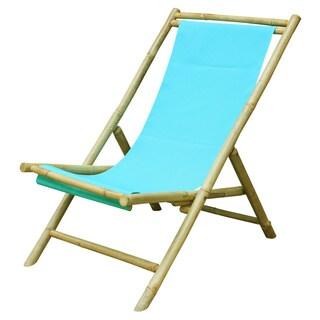 Havenside Home Sakami Blue Aqua Canvas Folding Bamboo Relax Sling Chair