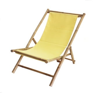 Havenside Home Sakami Yellow Canvas Folding Bamboo Relax Sling Chair