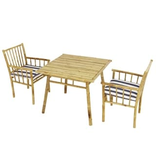 Dining Set Of 2 Armchairs Cushions Accent Square Table
