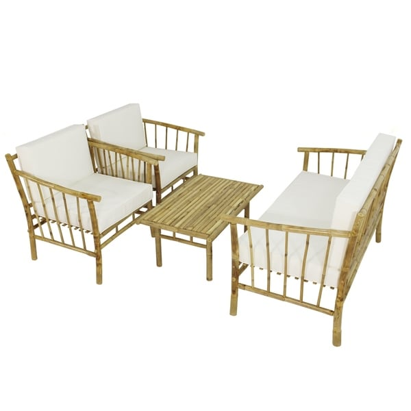 Handcrafted Bamboo Sofa Set of 01 Double and 2 Single Sofa and Table
