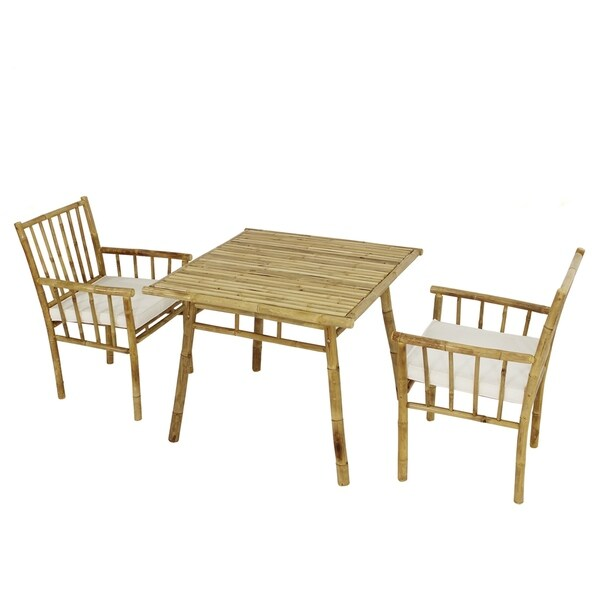 Dining Set Of 2 Armchairs With Cushions and Accent Square Table