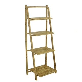 Hand Crafted Bamboo 4-tier Shelves Folding Book Case Cabinet
