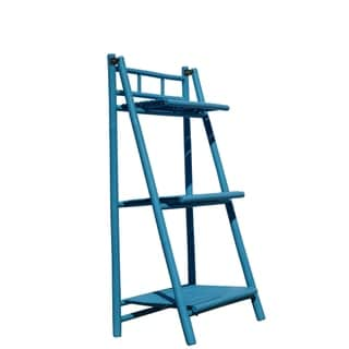Bamboo 3-Tier Shelves Folding Book Case Cabinet Shelf - Turquoise