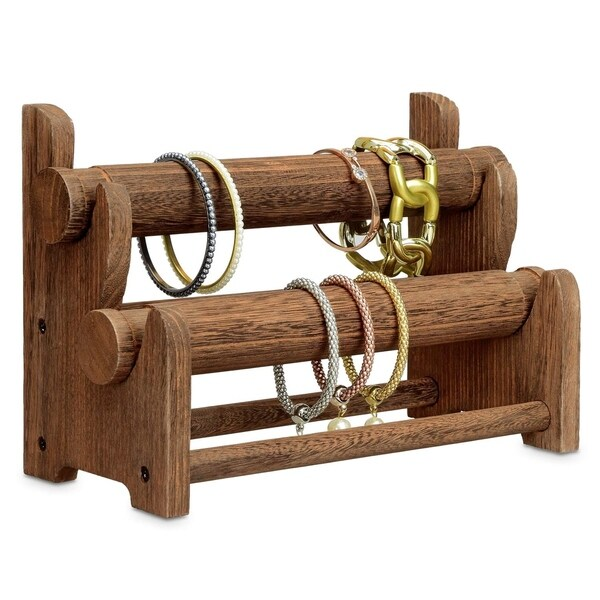 Ikee Design Wooden 2-Tier Bar Bracelet/Bangle Jewelry Holder Stand