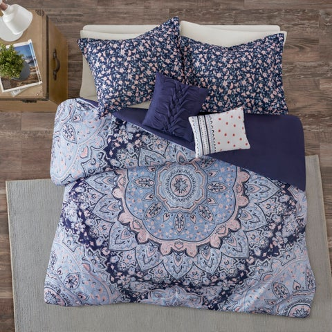 Intelligent Design Skye Blue Boho Duvet Cover Set