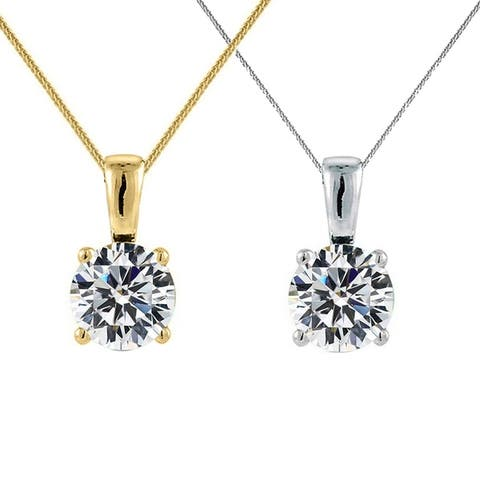 14k Yellow or White Gold 7-mm Round-cut Cubic Zirconia Solitaire Pendant with 0.8-mm Flat Square Wheat Chain