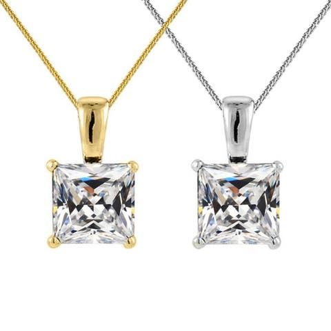 14k Yellow or White Gold 6-mm Princess-cut Cubic Zirconia Solitaire Pendant with 0.8-mm Flat Square Wheat Chain