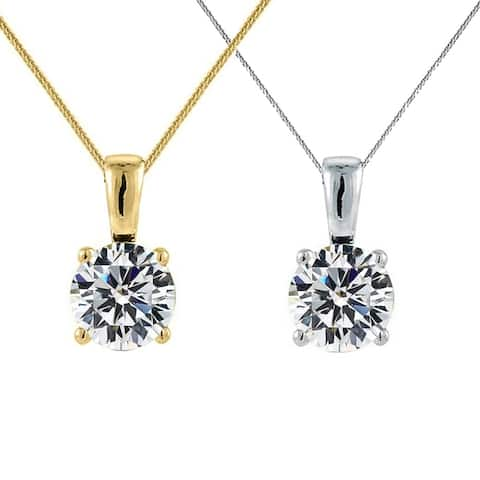 14k Yellow or White Gold 6-mm Round-cut Cubic Zirconia Solitaire Pendant with 0.8-mm Flat Square Wheat Chain
