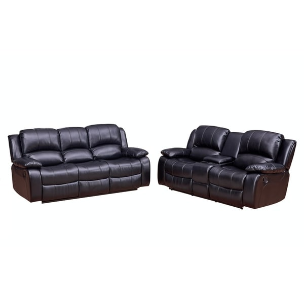 Vanity Art Bonded Leather 2-Piece Reclining Loveseat 1 Motion Sofa 1 Motion Loveseat with Console Living Room Set, Black,Brown