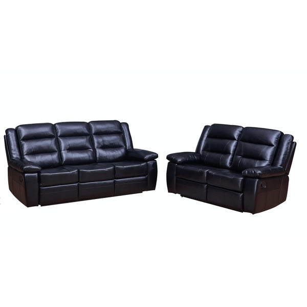 Vanity Art Black Bonded Leather 2-Piece Reclining Loveseat with One Motion Sofa One Motion Loveseat Living Room Set
