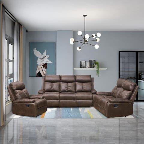 Vanity Art Brown Microfiber 3-Piece Reclining Sofa Set