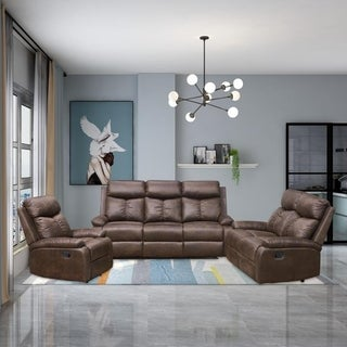 Vanity Art Brown Microfiber 3-Piece Reclining Loveseat with One Motion Sofa 1 Motion Loveseat 1 Motion Chair Living Room Set
