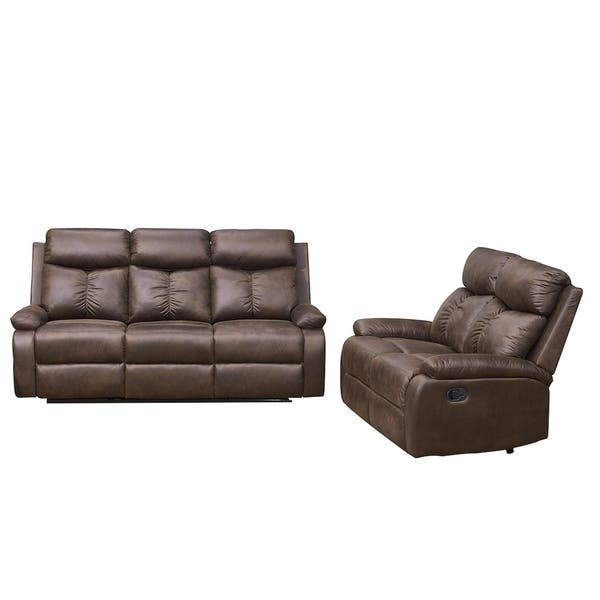 Wondrous Vanity Art Brown Microfiber 2 Piece Reclining Loveseat With One Motion Sofa One Motion Loveseat Living Room Set Gmtry Best Dining Table And Chair Ideas Images Gmtryco