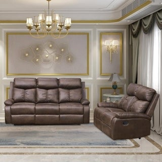 Vanity Art Brown Microfiber 2-Piece Reclining Loveseat with One Motion Sofa One Motion Loveseat Living Room Set
