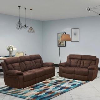Vanity Art Microfiber 2-Piece Recliner Living Room Set Motion Sofa & Motion Loveseat, Brown