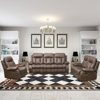 Vanity Art Brown Microfiber 3-Piece Reclining Loveseat with One Motion Sofa 1 Motion Loveseat 1 Glider Chair Living Room Set