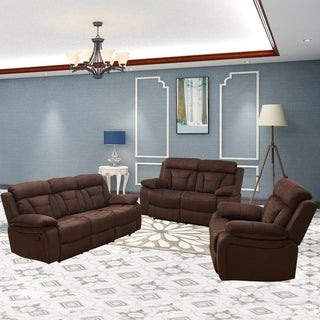 Vanity Art Brown Microfiber 3-Piece Reclining Loveseat with One Motion Sofa 1 Motion Loveseat 1 Reclining Chair Living Room Set