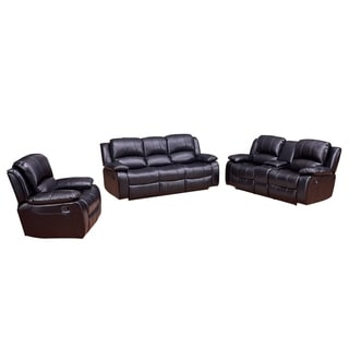 Vanity Art Bonded Leather 3-Pieces Reclining Loveseat with Console Dining Room Set Recliner Sofa, (Black,Brown)