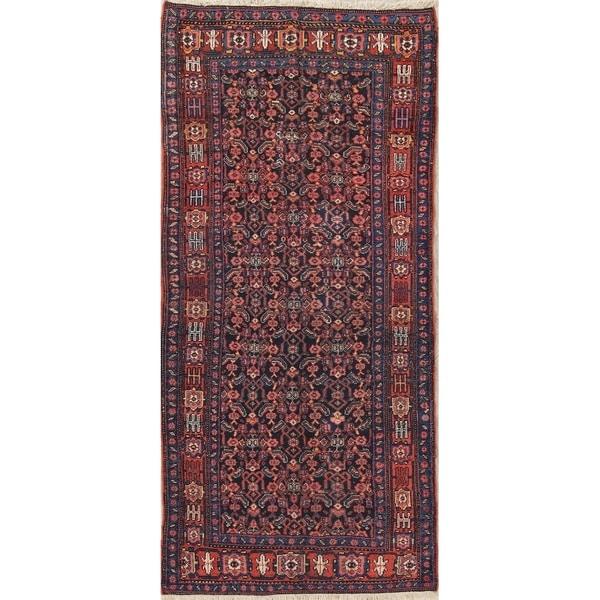 "Antique Bidjar All-Over Geometric Handmade Wool Persian Oriental Rug - 9'0"" x 4'4"" Runner"