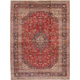 "Kashan Floral Medallion Traditional Handmade Wool Persian Area Rug - 13'0"" x 9'8"""