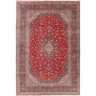 "Kashan Floral Medallion Traditional Handmade Wool Persian Area Rug - 12'4"" x 8'6"""